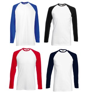3er Pack Fruit of the Loom Valueweight Long Sleeve Baseball T, Herren-Shirt