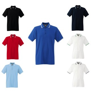 3er Pack Fruit of the Loom Tipped Polo, Herren kurzarm Poloshirt, rundhals Shirt