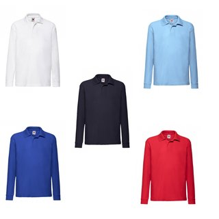 5er Pack Fruit of the Loom Kids 65/35 Long Sleeve Polo, Kinder-Langarm Poloshirt