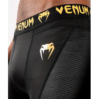Venum G-Fit Compression Shorts schwarz/gold, Kickboxen Thaiboxen Fitness Training