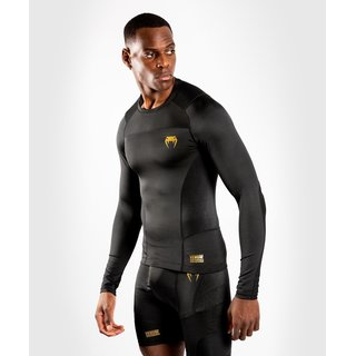 Venum G-Fit Rashguard Long Sleeves schwarz/gold, Kickboxen Thaiboxen Fitness