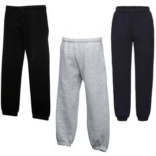 3er Pack Fruit of the Loom Kids Premium Elasticated Cuff Jog Pants, Jogging Hose